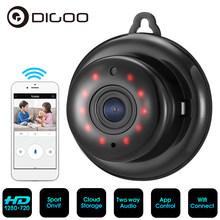 Digoo minicâmera de vigilância residencial, DG-MYQ 2.1mm, lente 720p sem fio, wi-fi, visão noturna, monitor bebê, ip onvif monitor de monitor