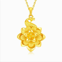 Exquisite Carved Flower Pendant Necklace For Girls Accessories Vintage Gold Peacock Women Clavicle Choker Jewelry Lady