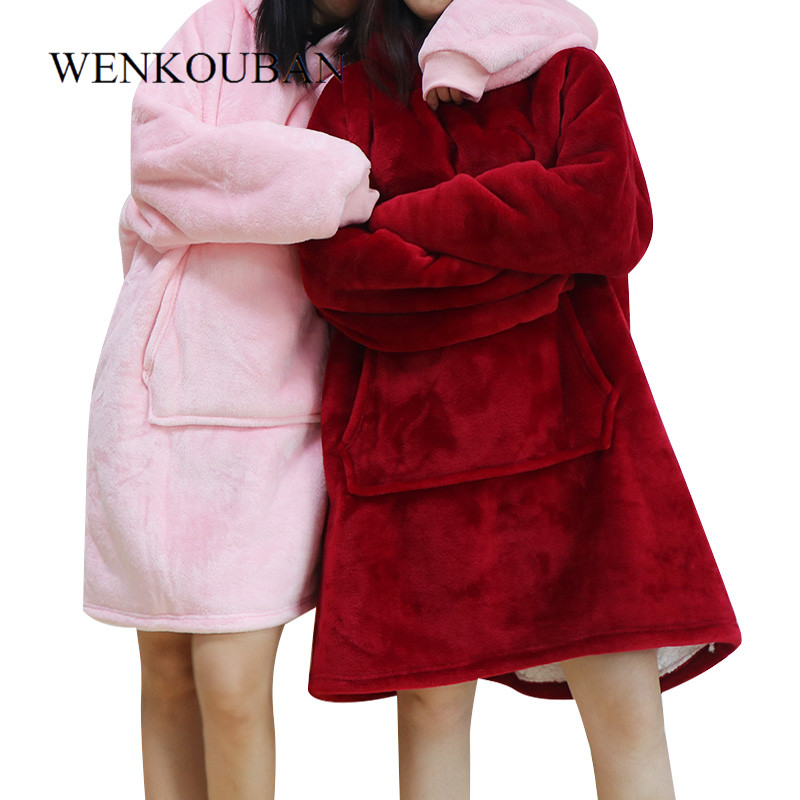 Winter Women Hoodie Sweatshirt Warm Pocket Blankets Outdoor Long Hoody For Women Coat Plush Oversized Sweatshirt Casaco Feminino