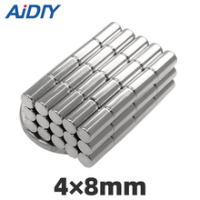 AIDIY 30/50/100pcs 4x8mm round disk neodymium magnets N35 NdFeB  Super powerful 4 * 8mm strong rare earth cylinder magnet