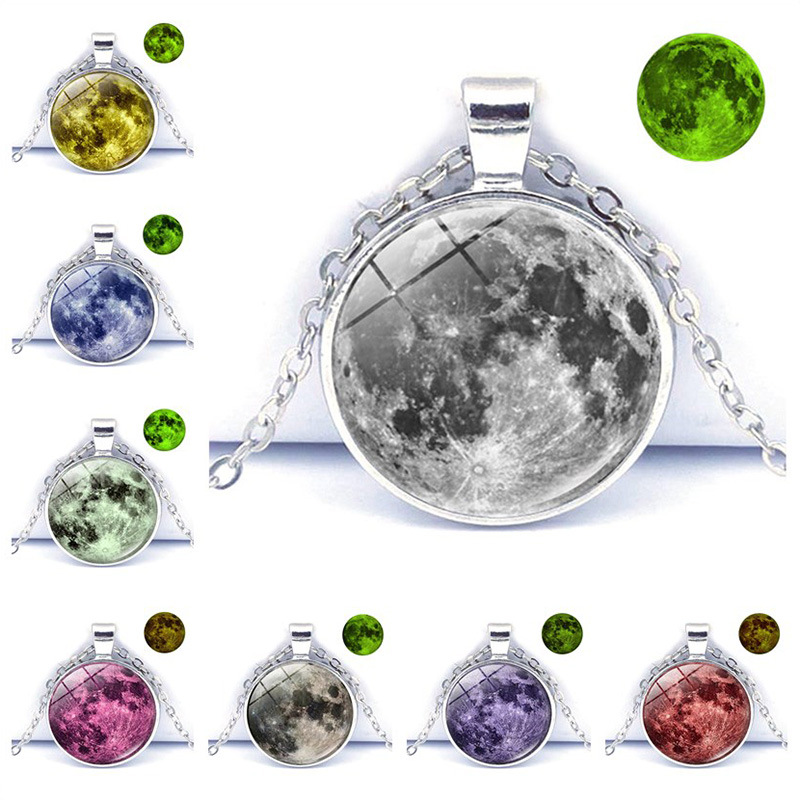 Luminous Glowing Jewelry Full Moon Necklace Pendant Glass Dome Lunar Eclipse Glow in the dark Necklace For Women Jewelry