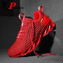 PULOMIES ผู้ชาย Springblade รองเท้าวิ่งกีฬารองเท้า LACE up Scale รองเท้าผ้าใบผู้ชาย Breathable รองเท้าวิ่งลำลองรองเท้าขนาดใหญ่ Size38 46