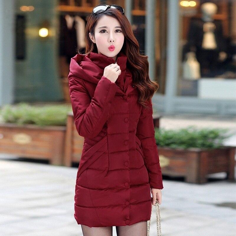 ZOGAA Длинные куртки женские зимние теплые плотные парки Пальто однотонные тонкие длинные парки верхняя одежда с хлопковой подкладкой пальто...