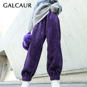 GALCAUR Casual Loose Corduroy Pant For Women High Waist Black Arge Size Minimalist Hip Hop Pants Female 2020 Fashion New Clothes