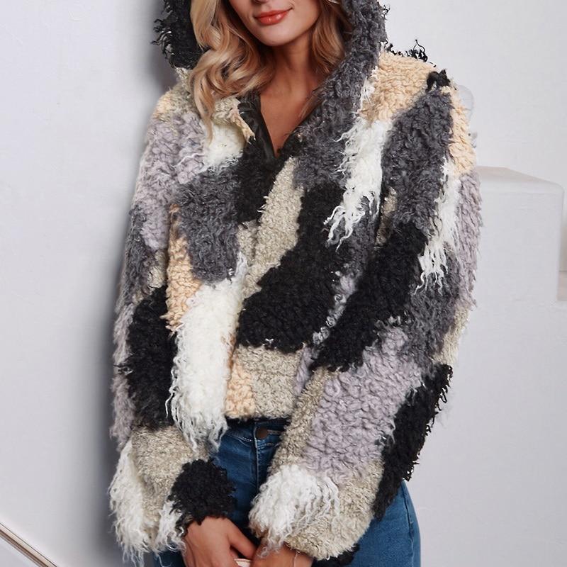 Windproof Warm Coat Women Hiking Jacket 2019 Autumn Winter Slim Ladies Shaggy Faux Fur Coat Fashion Long Sleeve Outwear in Hiking Jackets from Sports Entertainment