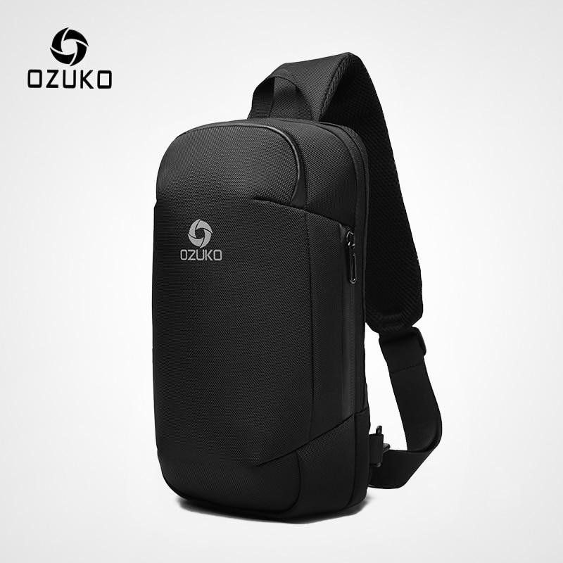 OZUKO New Men Anti Theft Crossbody Bags Fashion Male 9.7inch IPad Shoulder Messenger Bag USB Charging Waterproof Sling Chest Bag