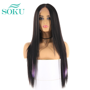 Image 5 - Synthetic Lace Front Wigs Long Yaki Straight Middle Part Lace Wig SOKU Glueless Heat Resistant Fiber Lace Wigs For Black Women
