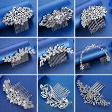 Peines Minlover de lujo hechos a mano de diamantes de imitación para el pelo de boda/pasadores de cristal flor perlas novia accesorios de joyas para el pelo adornos para el pelo