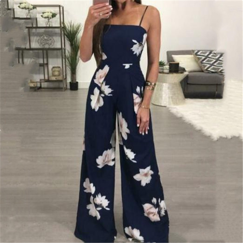 Women Summer Loose Jumpsuit New Floral Printed Sleeveless Wide Legs Trousers Playsuit Female Fashion Sling Long Rompers Hot Sale