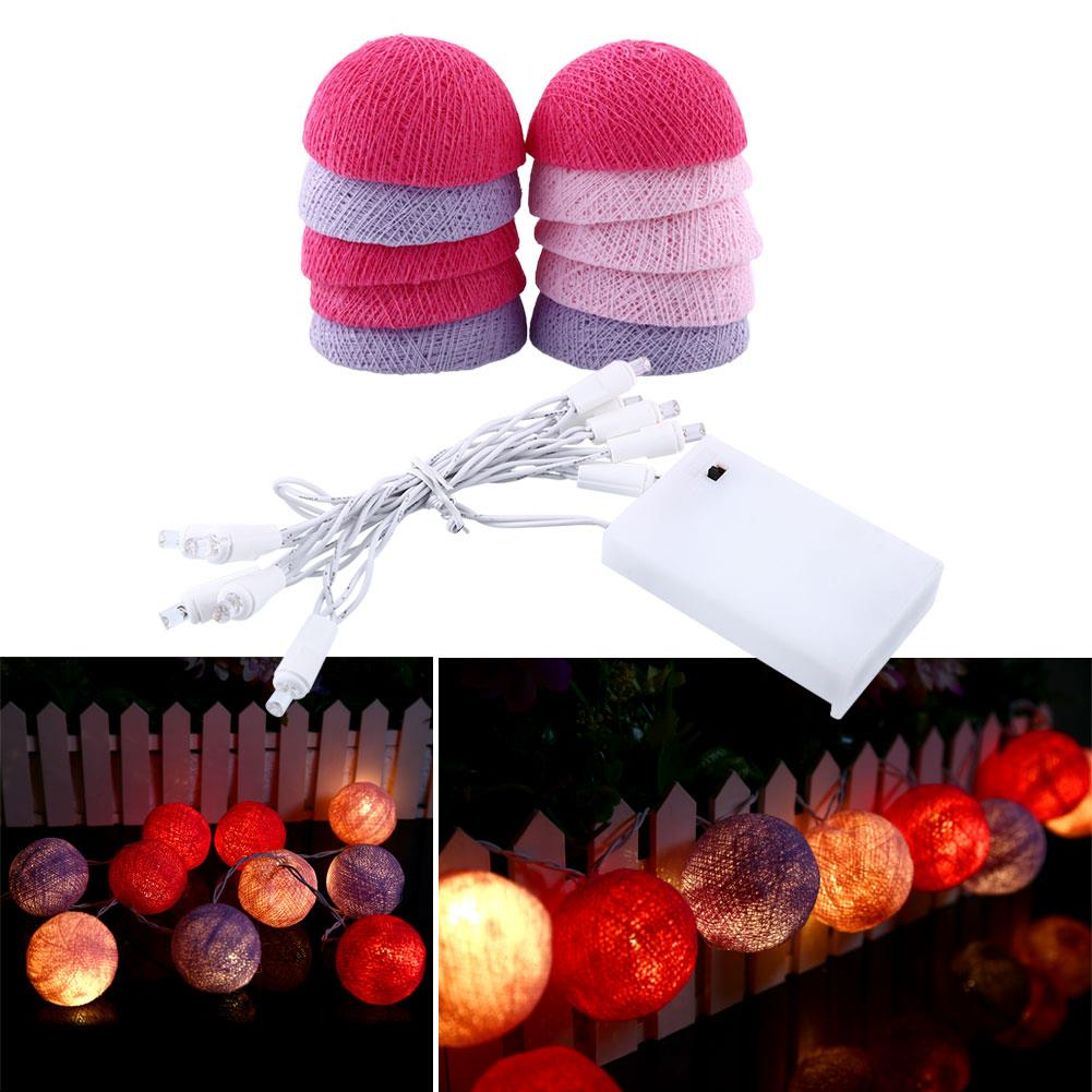 String Light Cotton Ball Lights LED String Light Christmas Home Outdoor Cotton Gift Bedroom Pink+Blue Holiday Lighting Wedding