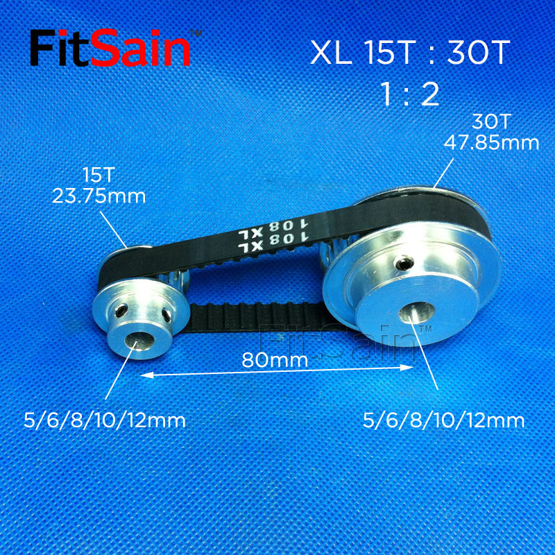 FitSain-XL Bandwidth 10 Synchronous Wheel 15T:30T Tooth Pulley 1: 2 Deceleration Hole 5-6-8-10-12