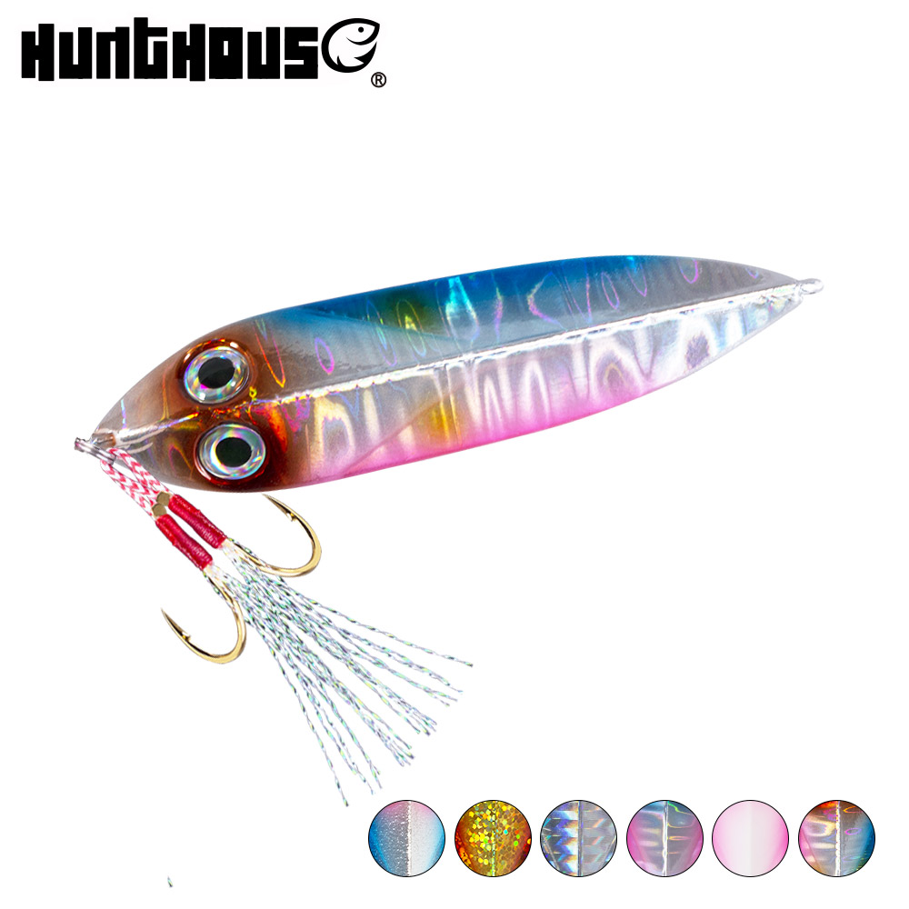 hunthouse jigging fishing lures hard metal <font><b>jig</b></font> lure 20g 30g 40g <font><b>60g</b></font> spoon <font><b>slow</b></font> <font><b>jig</b></font> lead bait Luminous isca artificial wobbler image