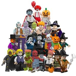 Halloween Horror Mini Building Blocks Pumpkin Man Anime Figures Christmas Toys Female Ghost Witch Gift For Children