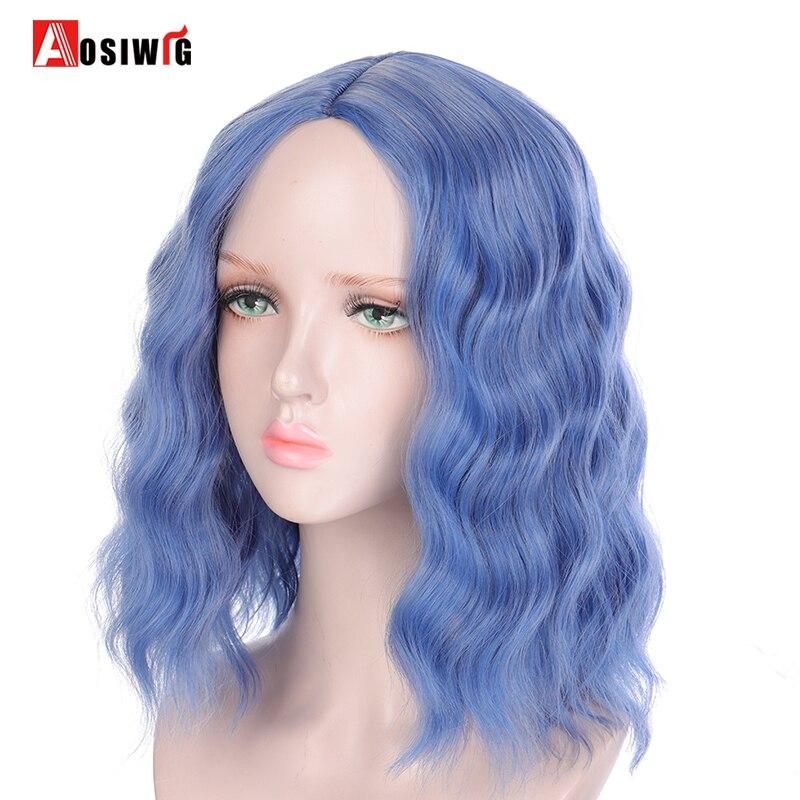 AOSI moda mujer ondulado corto Bob Cosplay peluca Lolita parte media pelo azul o naranja pelucas sintéticas para mujer chica resistente al calor