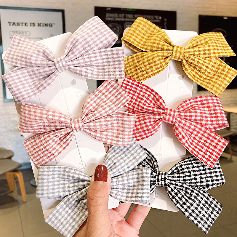 New Women Girls Cute Plaid Bow Hairpins Sweet Hair Clips Headband Barrettes Lovely Hair Ornament Fashion Hair Accessories