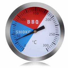 Stainless-Steel BBQ Thermometer Smoker Grill Thermometer 300 Degrees Temperature Gauge Cooking Accessory 0 300 degree length 20 cm bimetallic thermometer wss 411 stainless steel disc industrial boiler thermometer radial