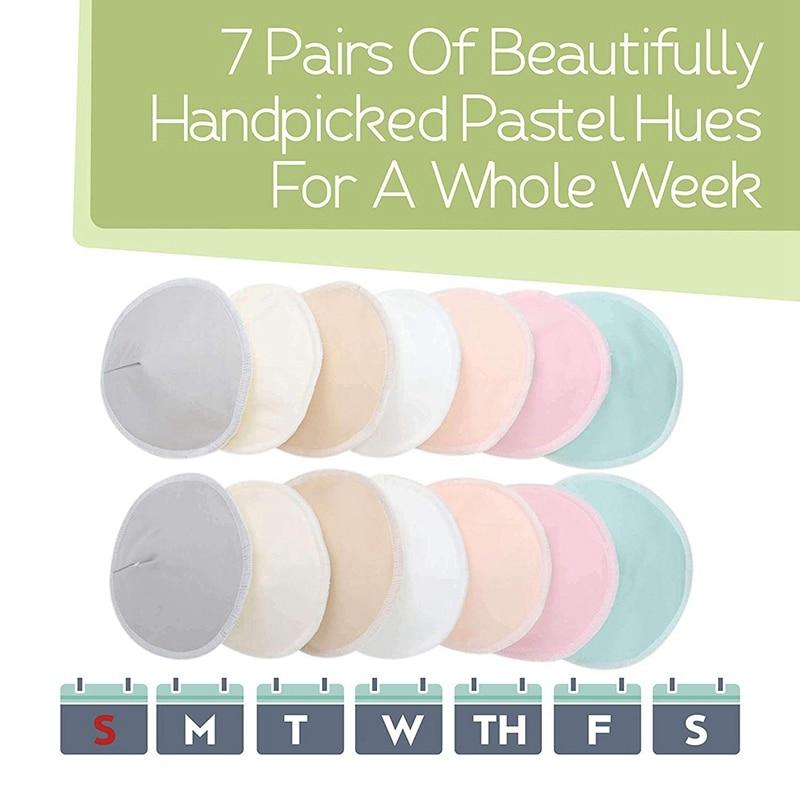 Hot-Organic Bamboo Breastfeeding Pads - 14x Washable Breast Pads, Maternal Breastfeeding Nipple, Breastfeeding, Reusable Nipple