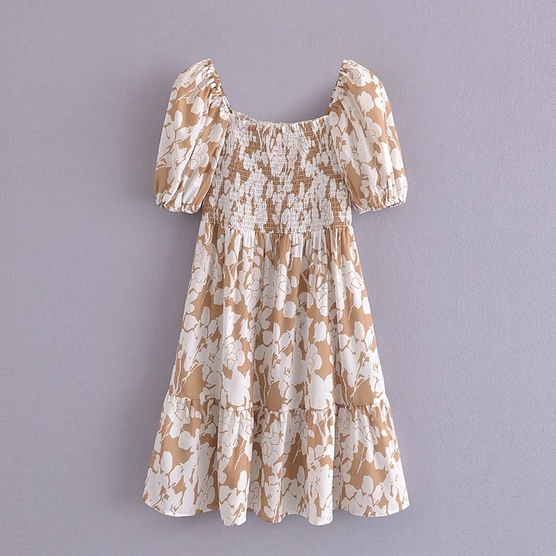 Tangada 2021 Summer Women Floral Print Short Dress Square Neck Short Sleeve Ladies Mini Dress Vestidos 3A148 7