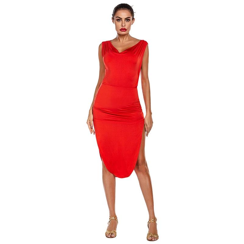 Hot Sale Woman Dance Costume Red/black Split Latin Dance Dress Adult Dance Dress High Quality Practice Match Dress Xs-xl