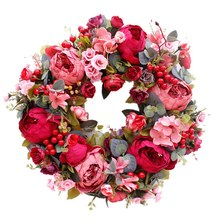 Decorative Door Wreath,Silk Flower Peony Head Flower Wreath 40cm Handmade Garland for Autumn Winter Outdoor Display Red(China)