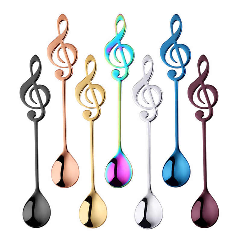 Stainless Steel Music Shaped Teaspoon Coffee Dessert Spoon Flatware 7 Colours
