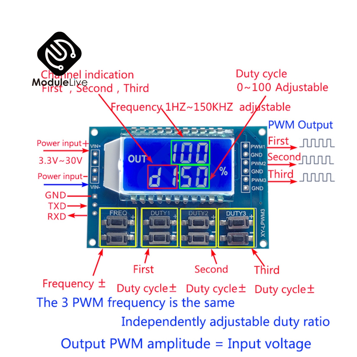 DC 3.3 -30 V 3 Channel 3-CH Frequency Adjustable Meter PWM Signal Generator LCD Display Meter 1 Hz -150 KHz Duty Cycle 0 -100