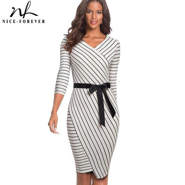Nice forever elegante vestido de oficina a rayas con cuello en V, Bodycon, fiesta de negocios, Otoño, mujer, B548