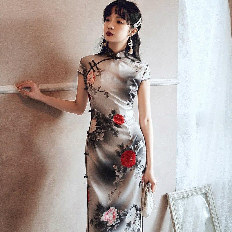 Sheng Coco Ladies Summer Cheongsam Black Silk Dress Slim Floral Vintage Chinese Oriental Evening Dress 4XL Stunning Clothing