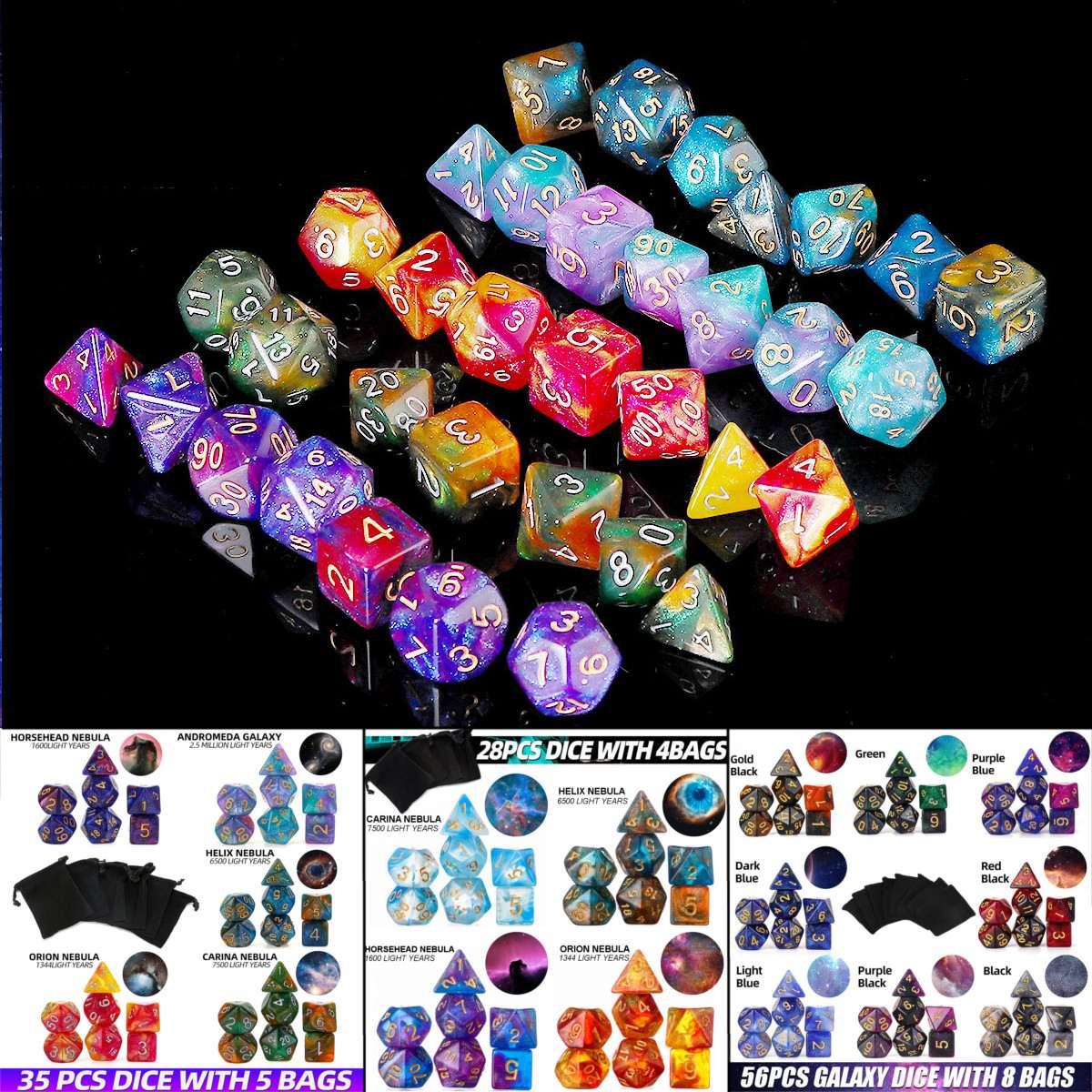 28/35/56Pcs Galaxy Glitter Concetto Dadi Poliedrici di Colore Misto Acrilico Dadi Ruolo Tavolo di Gioco Gioco Da Tavolo con il Sacchetto Per Il Partito