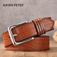Pasek do dżinsów wzór krokodyla moda męski pasek luksusowy Pin skórzany pasek z klamrą 2020 hurt
