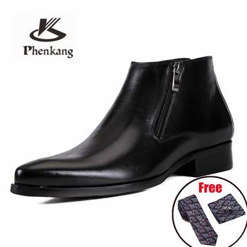 Penkang Men Winter Boots Genuine Cow Leather Chelsea Boots Brogue Casual Ankle Flat Shoes Comfortable Quality Zipper Dress Boots suede winter booties thick soled high quality platform boots chelsea faux fur sole top men slip on casual shoes genuine leather