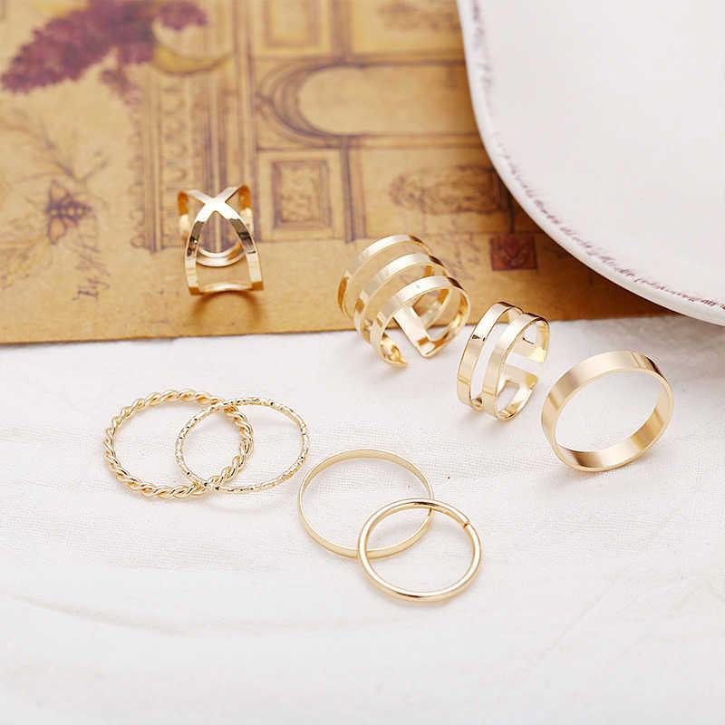 SHUANGR Delle Donne Dell'oro Del Nastro di Colore Anelli Set Dell'arco Del Cuore Twist Anello di Barretta Knuckle Femminile Gioelleria raffinata e alla moda Da Sposa Regali Del Partito 2020