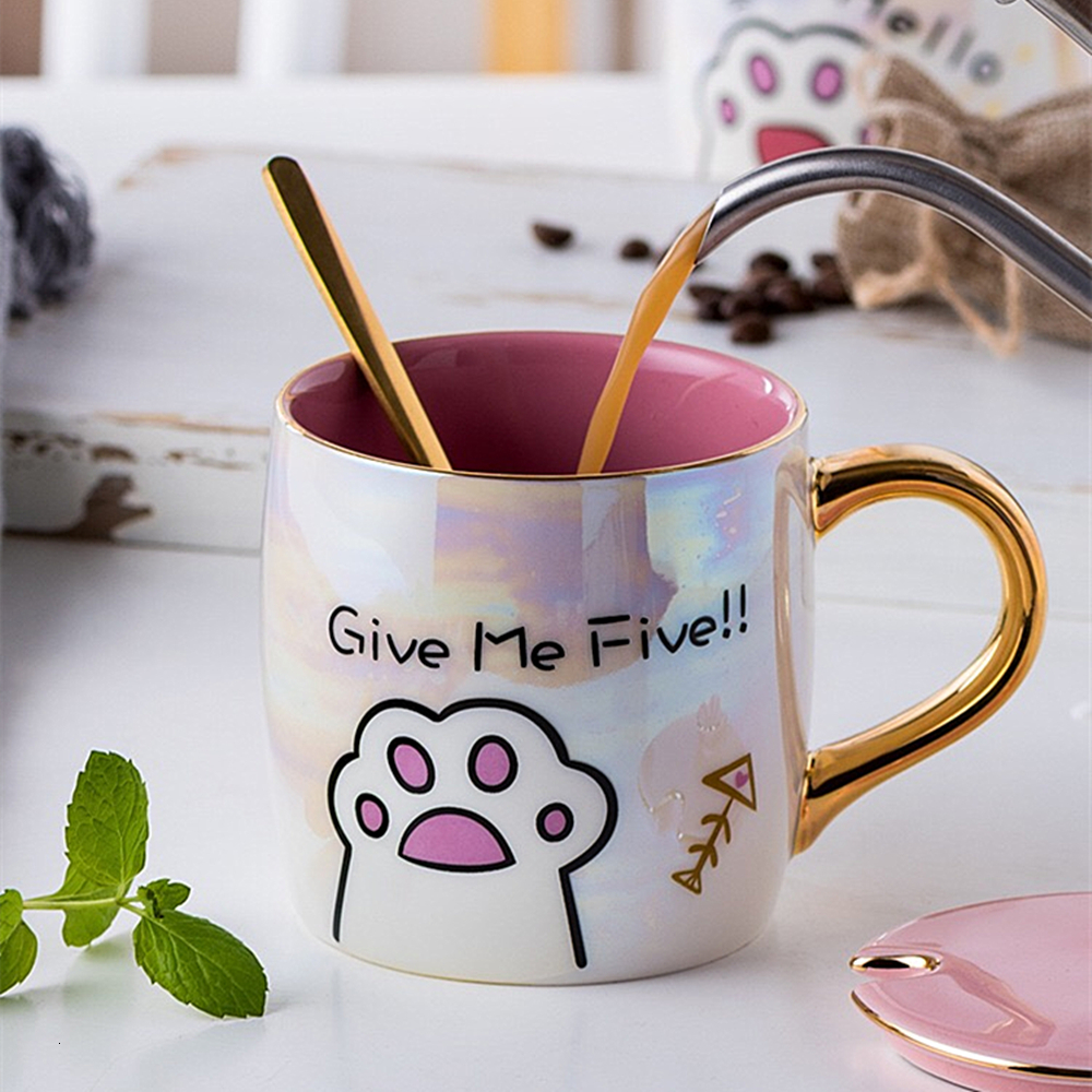 Cartoon Ceramics Cat Mug With Lid and Spoon Coffee Milk Mugs Cute Creative Breakfast Cup Valentine's Day Wedding Birthday Gift (3)