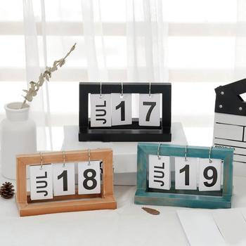 Creative Nordic Wooden Page-turning Calendar Ornament Study Desk Decoration image