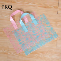 50pcs Large Clear Plastic Gift Bag Favor Jewelry Boutique Gift Packaging Bag Garment Shopping Bags With Handle