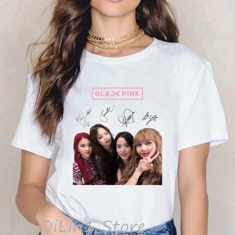 Sexy Blackpink camiseta mulheres roupas Fãs Álbum de matar o amor tshirt Hip hop feminino t-shirt do punk harajuku impressão dos desenhos animados do kawaii
