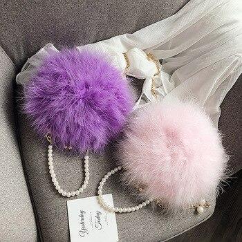 Winter Women Fashion Handbags Fur Bag Feather Bag Women Pearl Hand One Shoulder Diagonal Pearl Chain Small Round Bag Wholesale