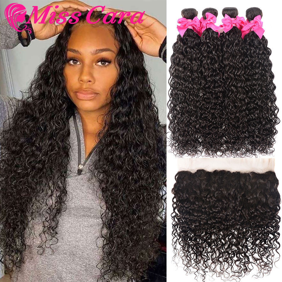 Transparent Lace Frontal With Bundles Peruvian Water Wave Bundles With Frontal 100% Miss Cara Remy Human Hair With Closure