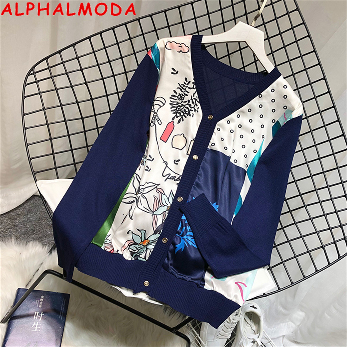 ALPHALMODA European V-neck Satin Print Sweater Patchwork Knitted Faux Single Breasted Pullover Autumn Long-sleeved Fashion Top