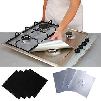 4 Pcs Square Foil Gas Hob Protector Liner Reusable Easy Clean Protection Pad Gas Stove Stovetop Protector Kitchen Accessories 8 pcs reusable gas stove burner cover protector liner clean mat pad file injuries protection 2