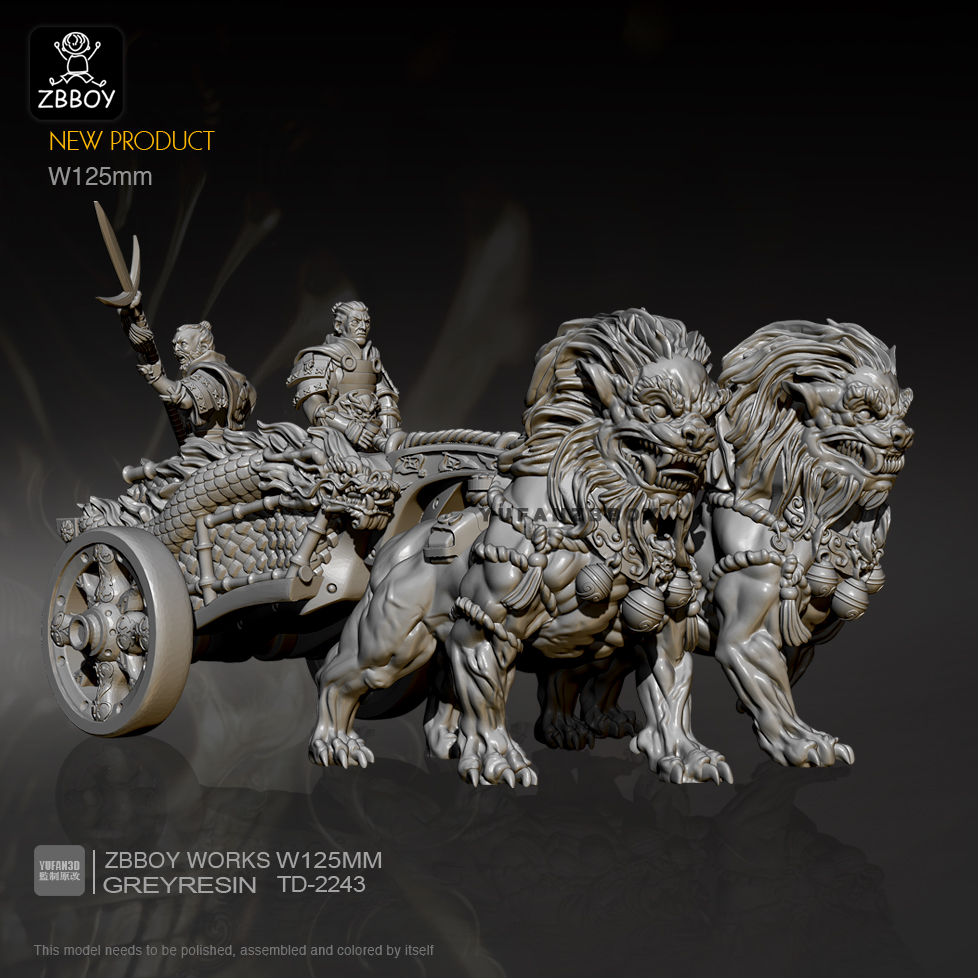 W125mm Resin Figure Kits Lion Chariot (Character + Chariot + Horse Set) Model Self-assembled TD-2243