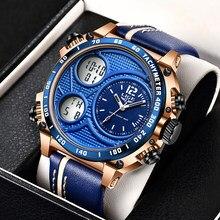 Nowe męskie zegarki LIGE do luksusowej marki męskie skórzane zegarki sportowe męskie kwarcowy LED cyfrowy zegar wodoodporny wojskowy zegarek na rękę