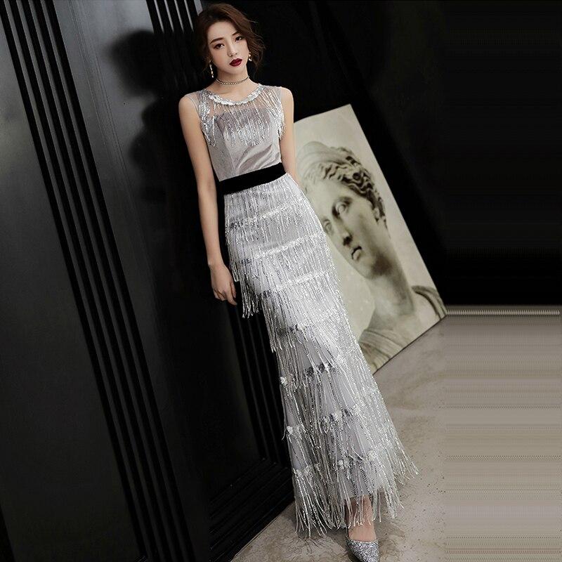 Evening Dress Sleeveless Sequin Robe De Soiree  Zipper Elegant Women Party Dresses O-neck Tassel Formal Evening Gowns 2019 F143