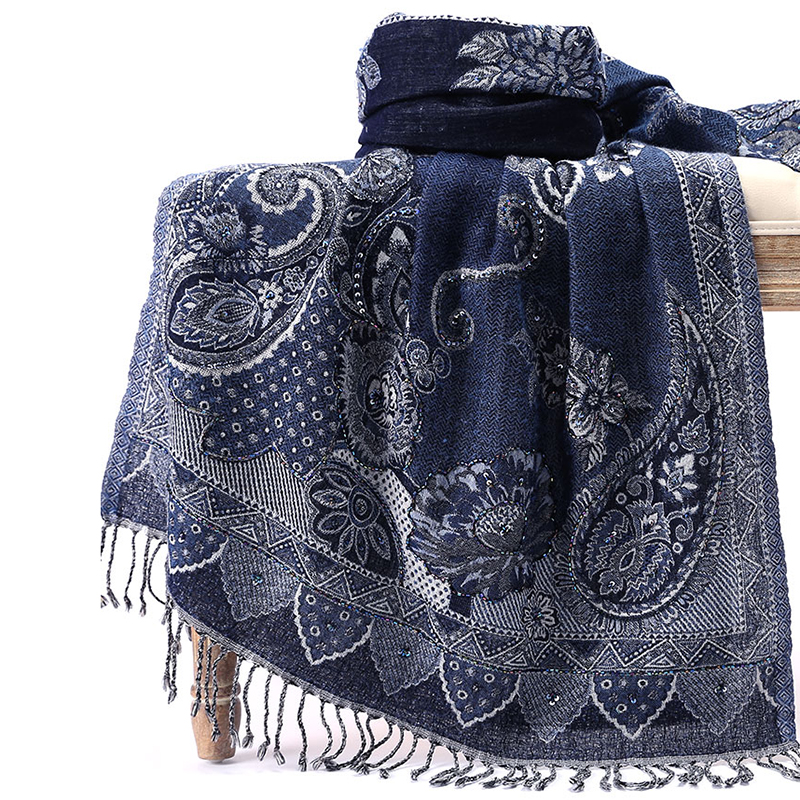 Soft Long Women Cashmere Blend Scarves Tassels Imitation Cashmere Muslim Hijab Handmade Embroidery Beads Cachecol Feminino