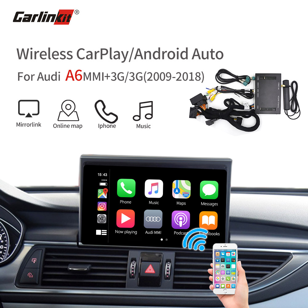 Carlink Wireless CarPlay Android Autofor 2009-2018 <font><b>Audi</b></font> <font><b>A6</b></font> MMI 3G/3G+ MuItimedia Interface CarPlay & Android auto Retrofit Kit image