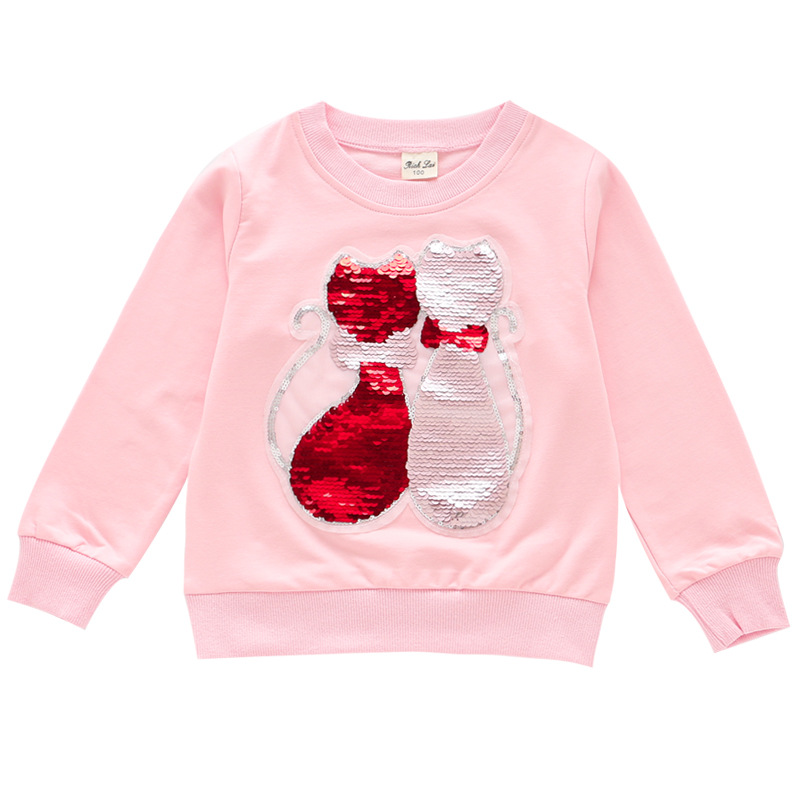 T-Shirts Kids Clothing Sweater Top-Girls Sequined Long-Sleeve Children Cat