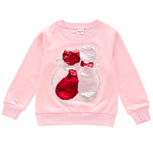 Long Sleeve Girl Sweater Shirts Cat Sequined Children T-shirts Kids Top Girls Clothing(China)