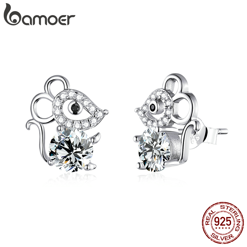 Bamoer 925 Sterling Silver Cute Animal Mouse Stud Earrings For Women Cubic Zircon Fashion Jewelry Girl 2020 Pendientes SCE826