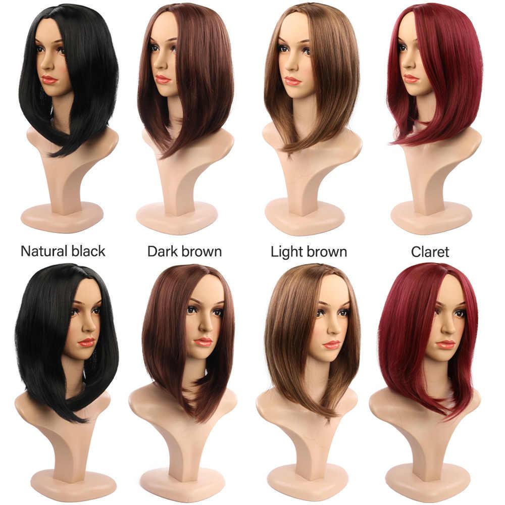 Pelucas sintéticas negras rectas encantadoras para mujeres pelucas de pelo de 14 pulgadas de media pulgada de estilo bobo resistente al calor pelucas de Cosplay