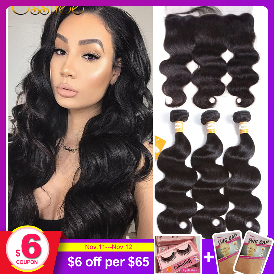 Ossilee Lace Frontal Closure With Bundles Body Wave Human Hair Bundles With Closure Remy Bundles With Frontal Middle Ratio